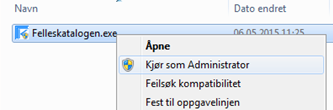 Kjør som Administrator i Windows